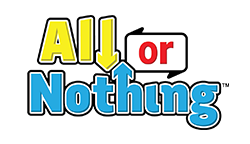 bright yellow and blue All or Nothing lotto game logo from Wisconsin Lottery