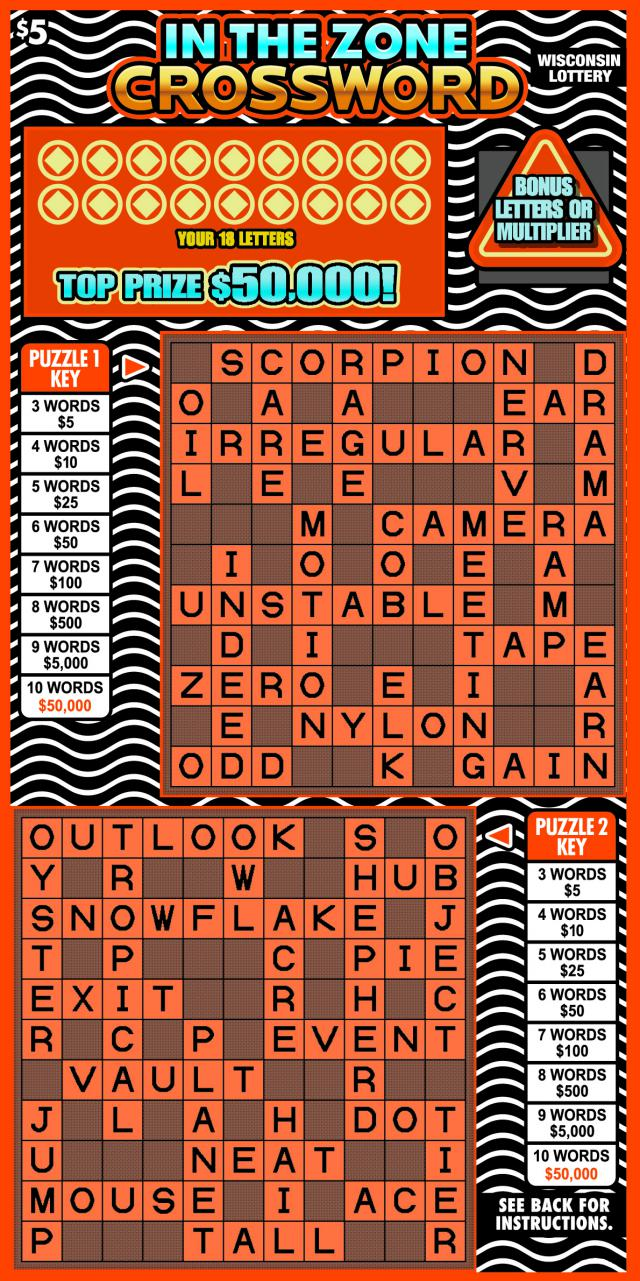 WI-Lottery-2164-Scratch-Game-In-The-Zone-Crossword