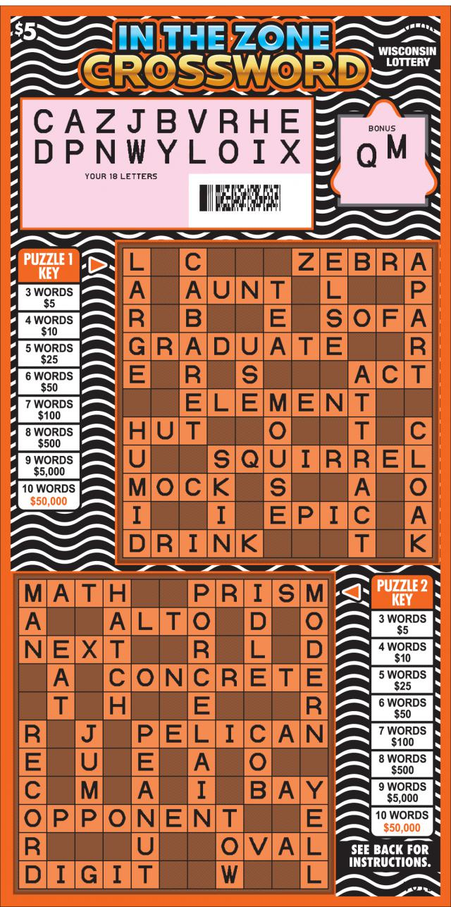 WI-Lottery-2164-Scratch-Game-In-The-Zone-Crossword-Scratched