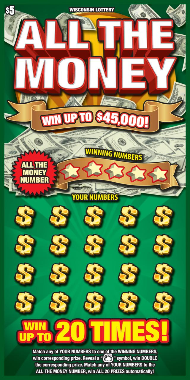 green scratch game with money showing from wisconsin lottery