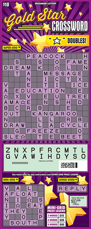 purple and gold crossword scratch game from wisconsin lottery with gold stars scratched off