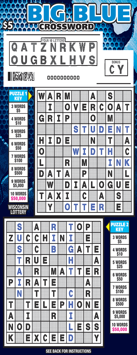 image of crossword ticket with a dotted blue background and two different crossword grids to play on which are scratched revealing a white play area on scratch ticket from wisconsin lottery