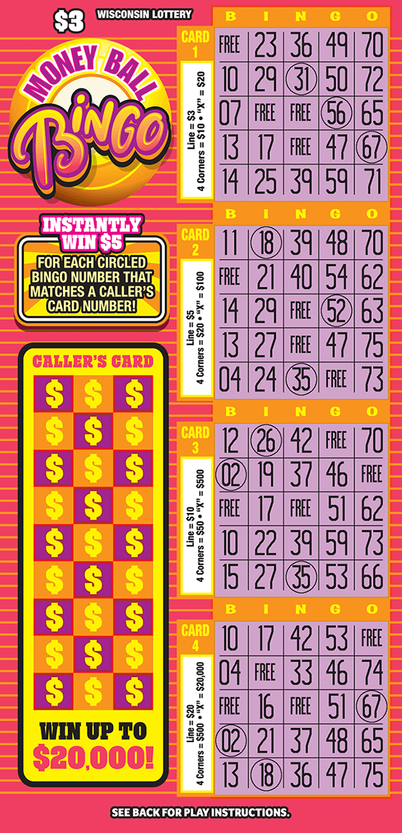 image with pink background and orange stripes contaning four bingo cards all of which have a purple play area and bingo written across the top in yellow lettering with an orange background on money ball bingo ticket from wisconsin lottery