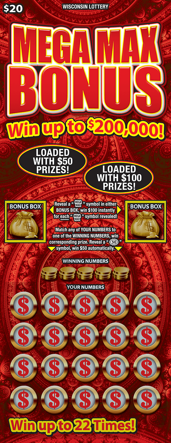 image of scratch ticket with a red patterned background and letters outlined in yellow. gold money bags and gold coins are found on ticket and gold coins with a dollar bill in the middle in the play area on scratch ticket from wisconsin lottery