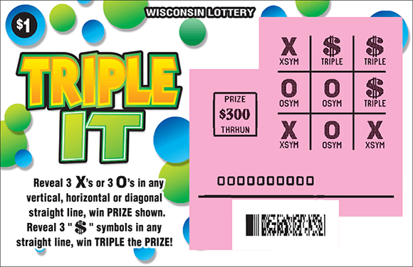 image of scratch ticket with a white background and blue and green bubbles. there is a 9 section grid which is scratched revealing x's and o's and a pink play area on scratch ticket from wisconsin lottery