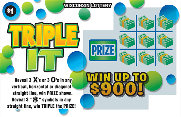 image of scratch ticket with a white background and blue and green bubbles. there is a 9 section grid containing stacks of money in each section on scratch ticket from wisconsin lottery