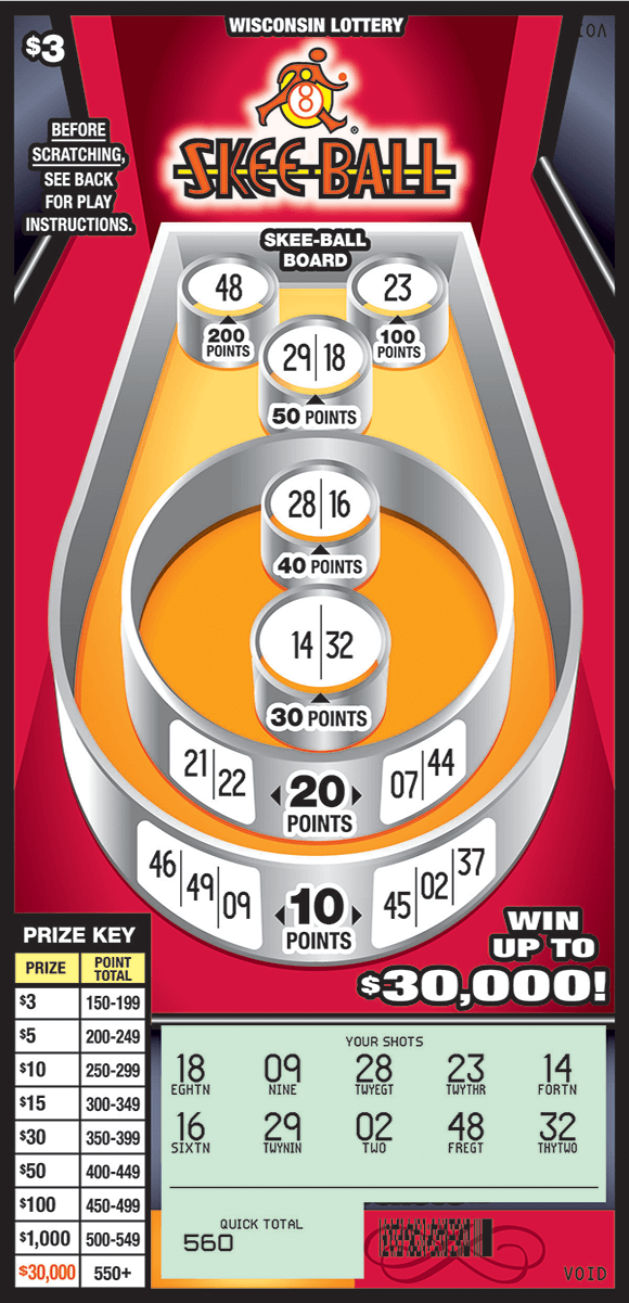 image of skeeball game containing different tiers of points. The background is red and the background of the game board is orange. the play area is scratched revealing a blue grid area on the bottom of the scratch ticket from wisconsin lottery