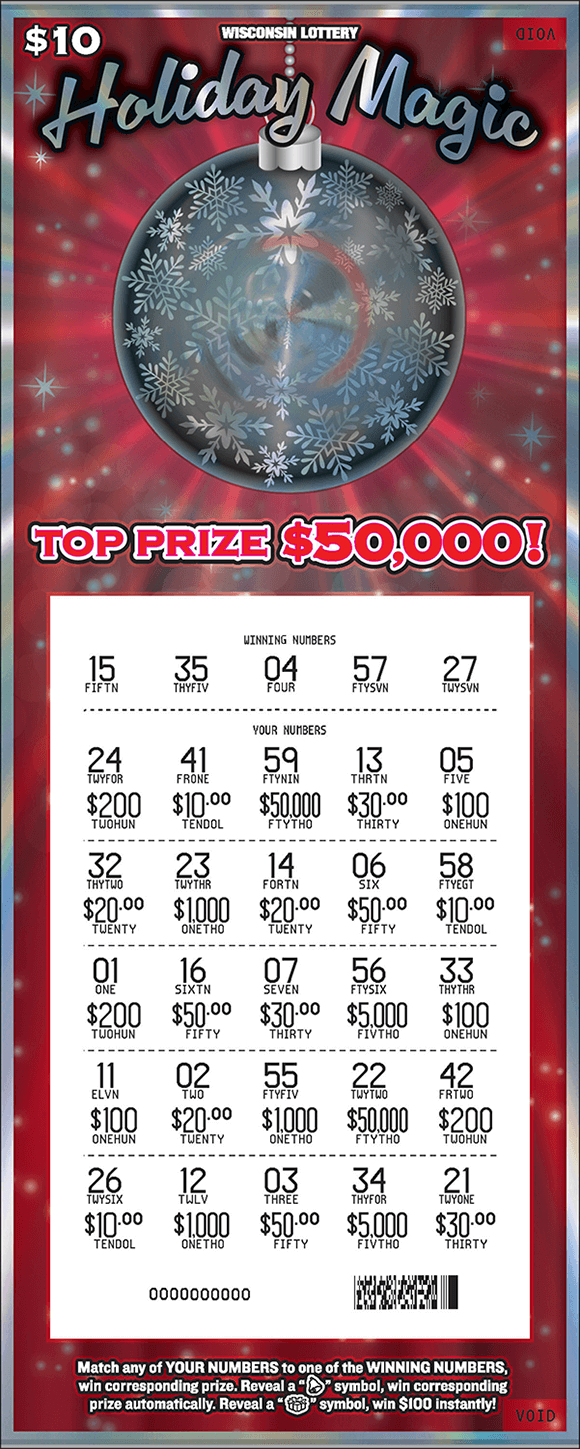 red shiny background with large hanging silver ornament and silver stars and snowflakes around it with white revealed play area on scratch ticket from wisconsin lottery