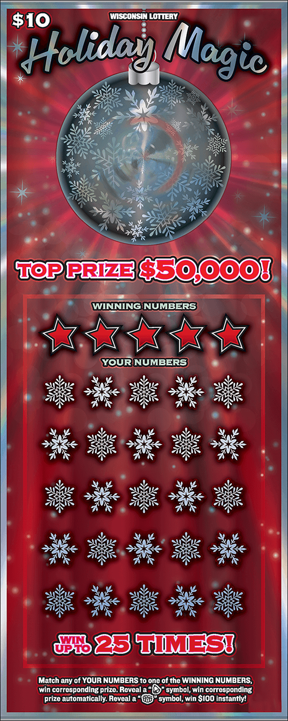 red shiny background with large hanging silver ornament and silver stars and snowflakes around it on scratch ticket from wisconsin lottery
