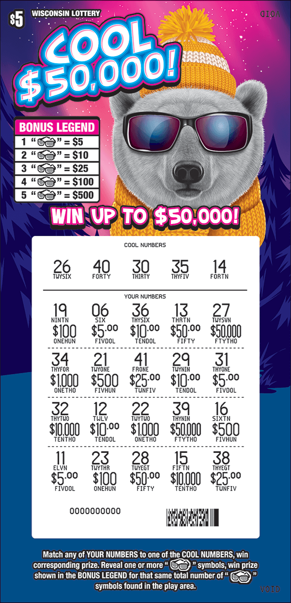 image of ticket with a large polar bear wearing sunglasses in a snowy mountain setting with snowflakes around and a scratched play area revealing a pink play area on scratch ticket from wisconsin lottery