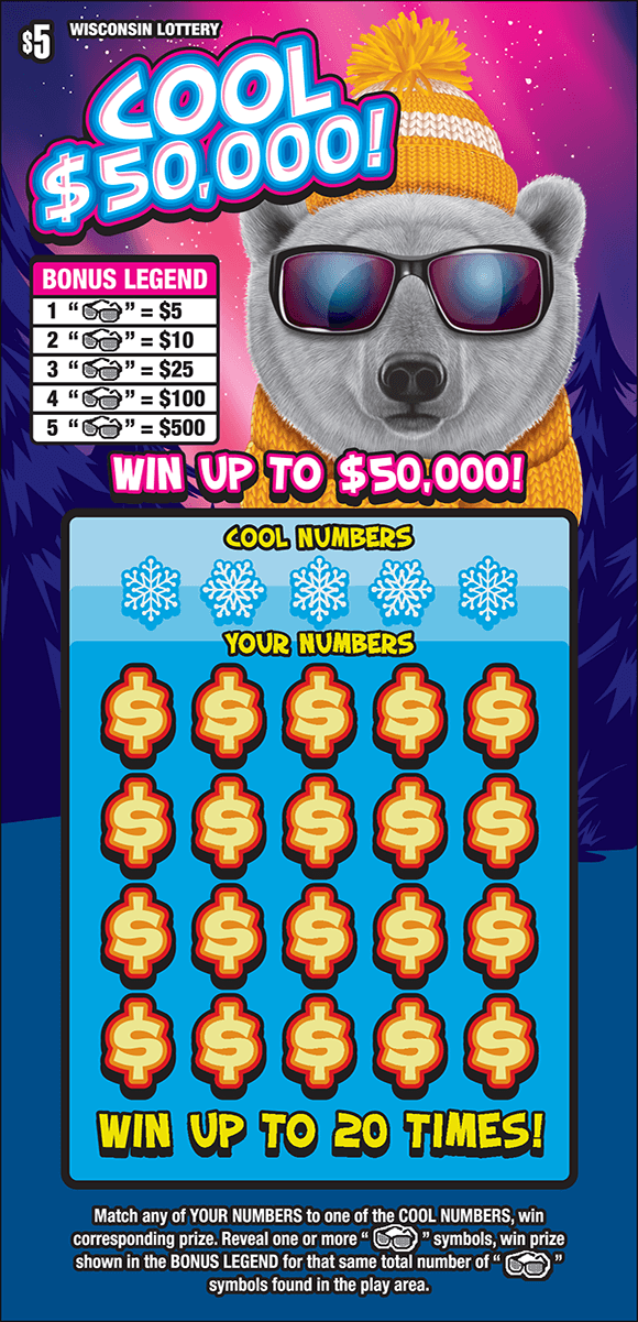 image of ticket with a large polar bear wearing sunglasses in a snowy mountain setting with snowflakes around on scratch ticket from wisconsin lottery