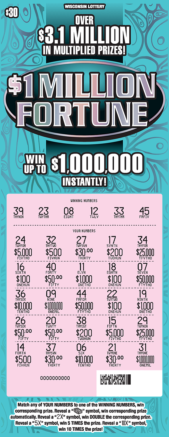 blue ticket with shiny reflective silver numbers that are scratched off revealing pink play area on scratch ticket from wisconsin lottery