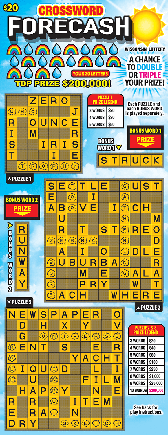3 crossword grids with letters in yellow with a blue sky background and an image of the sun on scratch ticket from wisconsin lottery