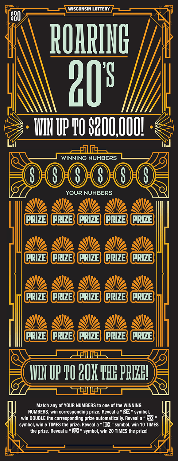 image of scratch ticket with a black background and gold lines and designs on scratch ticket from wisconsin lottery