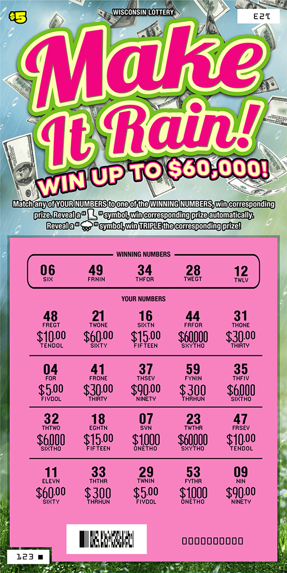 image of ticket with a rainy grassy background and images of $100 bills raining down, play area is scratched revealing a pink play area on scratch ticket from wisconsin lottery