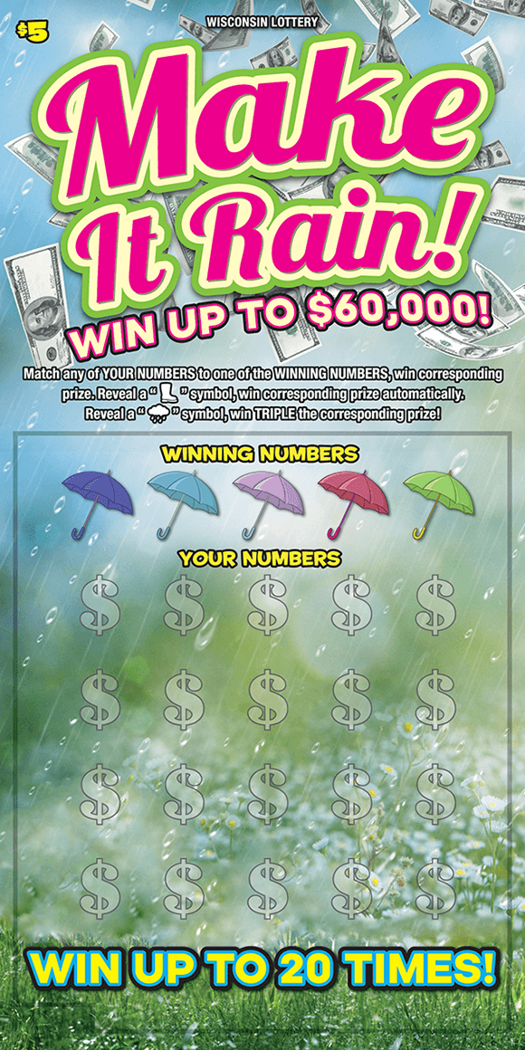 image of ticket with a rainy grassy background and images of $100 bills raining down, umbrellas are covering winning numbers on scratch ticket from wisconsin lottery