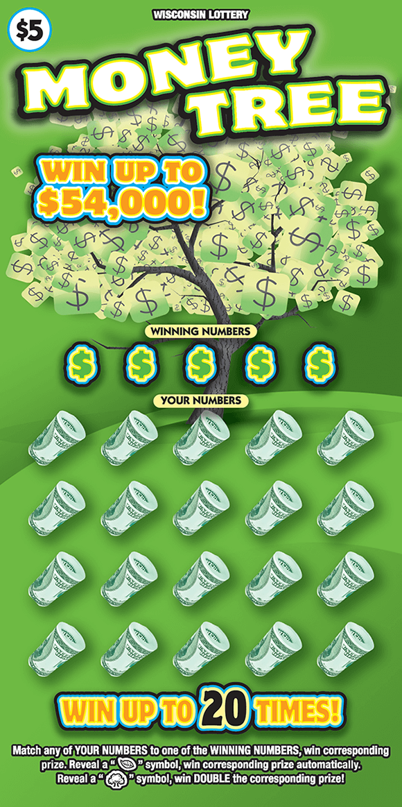 image of ticket with green background and a tree containing dollar bills as the leaves on the tree on scratch ticket from wisconsin lottery