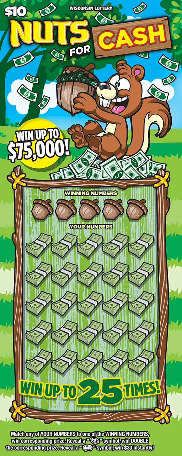 image of scratch ticket with a squirrel holding an acorn lying on grass with dollar bills in the acorn and around it on scratch ticket from wisconsin lottery