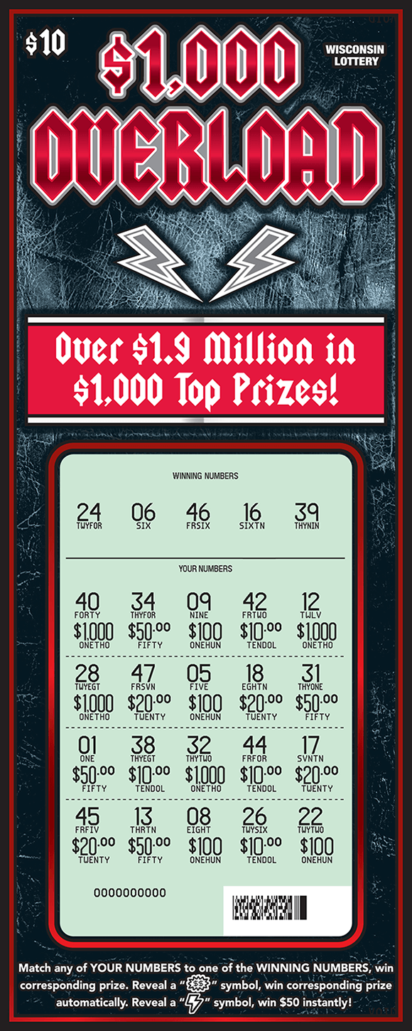 image of dark gray scratch ticket with red writing and lightning bolts and the play area is scratched to reveal the winning numbers and a white play area  on scratch ticket from wisconsin lottery