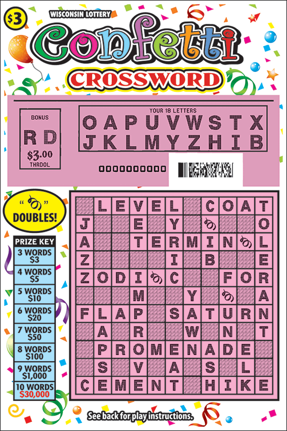 image of scratch ticket with a green crossword grid and images of confetti on the background of the ticket with a revealed pink play area showing letters on scratch ticket from wisconsin lottery
