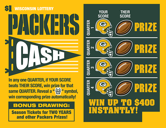 image of ticket with a gold background a the packers logo with images of footballs and football helmets with the packers g on them on scratch ticket from wisconsin lottery