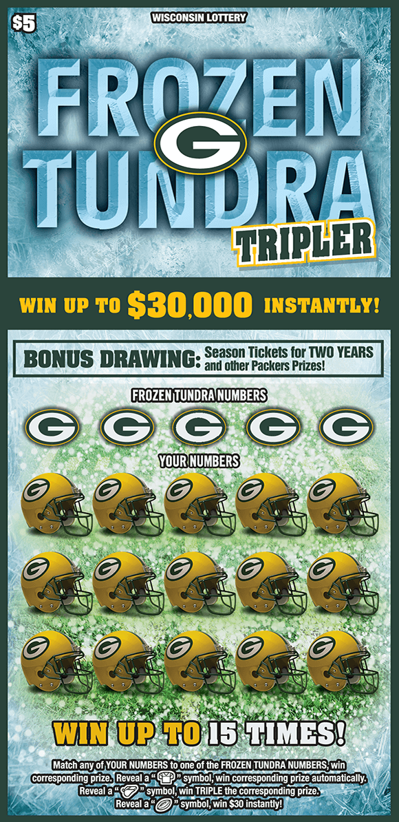 image of green bay packers ticket with green bay helmets covering the winning numbers and a frozen ice background on scratch ticket from wisconsin lottery