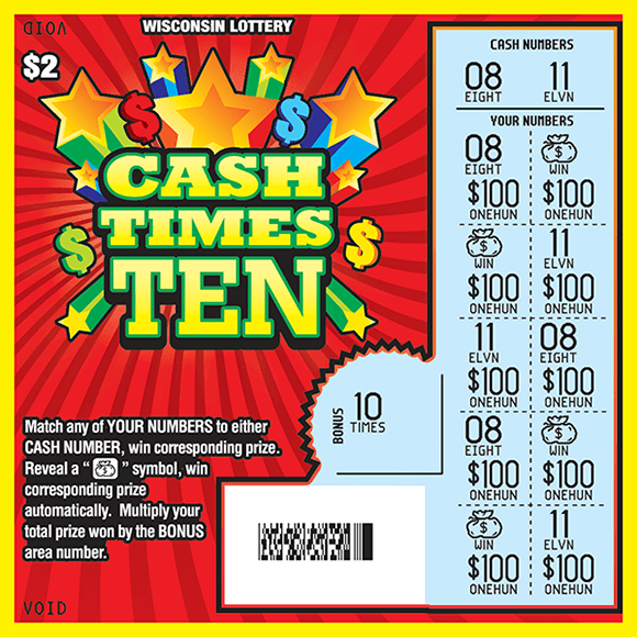 image of ticket with red background and multicolored stars and scratched play area revealing blue play area on scratch ticket from wisconsin lottery