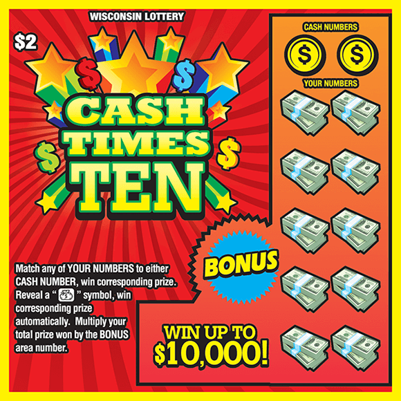 image of ticket with red background and multicolored stars and dollar bills in the play area covering the winning numbers on scratch ticket from wisconsin lottery
