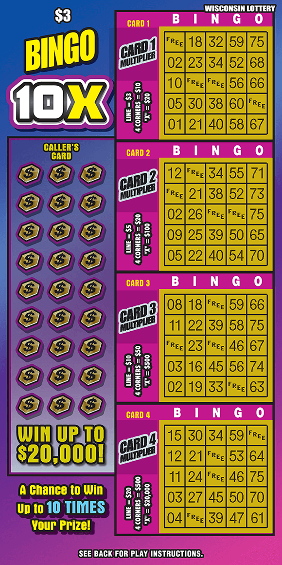 image of ticket with a pink and blue ombre background and four different yellow play area grids on scratch ticket from wisconsin lottery