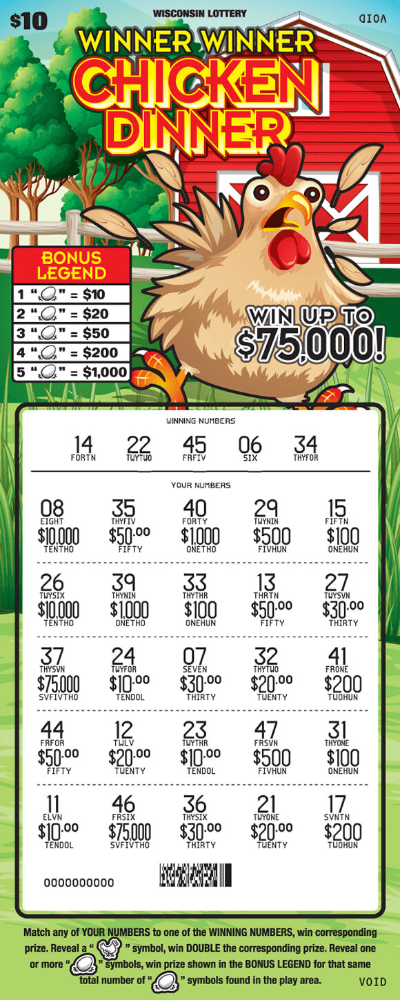 image of scratch ticket with a chicken running in a grass field in front of a red barn which is surrounded by trees and the play numbers are scratched revealing prize amounts scratch ticket from wisconsin lottery