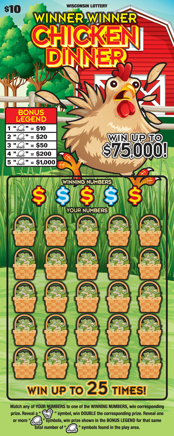 image of scratch ticket with a chicken running in a grass field in front of a red barn which is surrounded by trees and the covered numbers have wicker baskets with stacks of cash on scratch ticket from wisconsin lottery