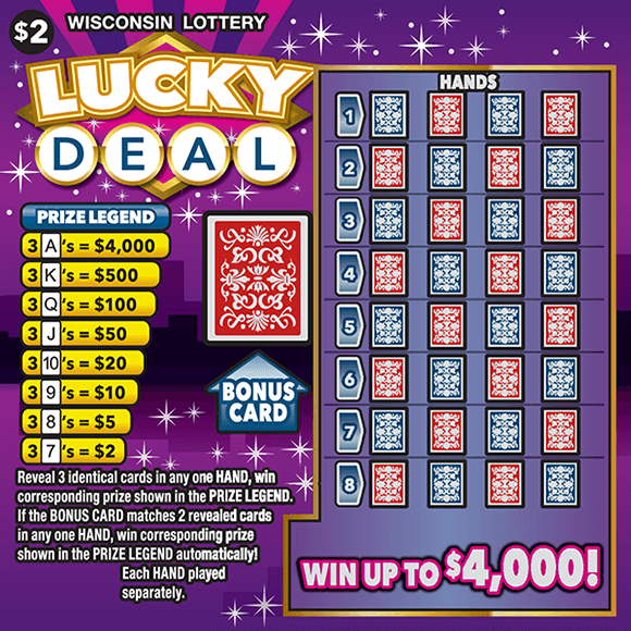 image of scratch ticket with purple background and white twinkling stars with a play area of a deck of cards on scratch ticket from wisconsin lottery