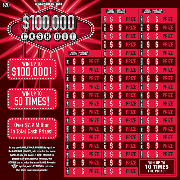 image of oversized scratch ticket with a red and black background and 50 play lines and the title of the ticket is being highlighted behind with white flashy lines on scratch ticket from wisconsin lottery
