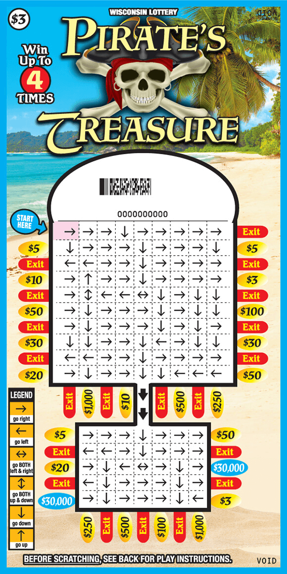 image of scratch ticket on a white sandy beach with an ocean and palm tree in the background and the play area has a grid with arrows directing you to an exit symbol or a prize amounton scratch ticket from wisconsin lottery