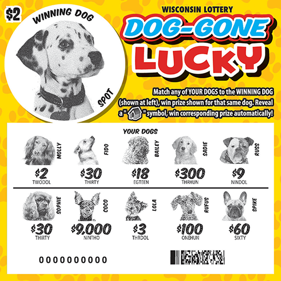 image of ticket with a circle image of a dalmatian in the top right corner and multiple types of dogs in the revealed play area to match to the winning matching dog on scratch ticket from WI Lottery