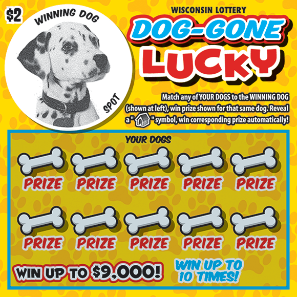 image of ticket with a circle image of a dalmatian in the top right corner and dog bones covering the play area on scratch ticket from WI Lottery