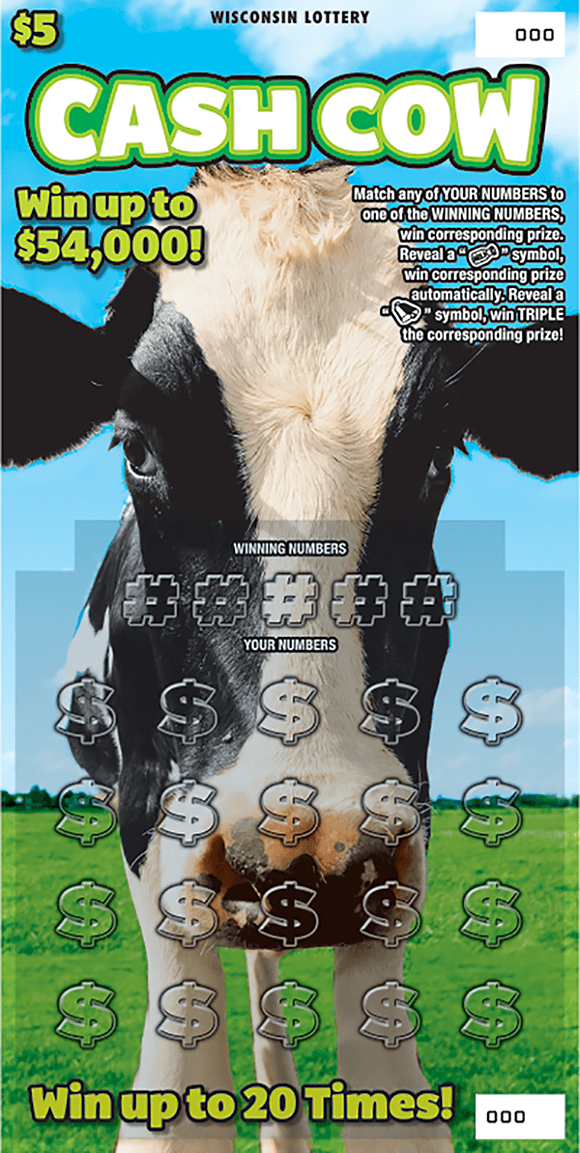 image of a cow standing in a green grass field with a blue sky background on scratch ticket from wisconsin lottery