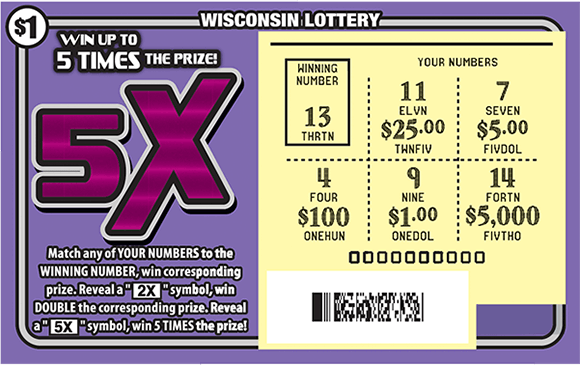 Picture of purple ticket with large 5x symbol and scratched play area revealing a yellow play area on scratch ticket from wisconsin lottery