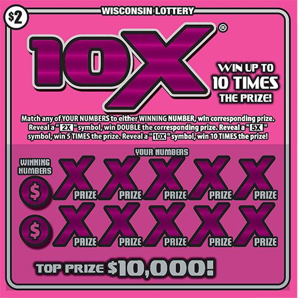 image of scratch ticket with a large 10x symbol in a deep pink color on a light pink background on scratch ticket from wisconsin lottery