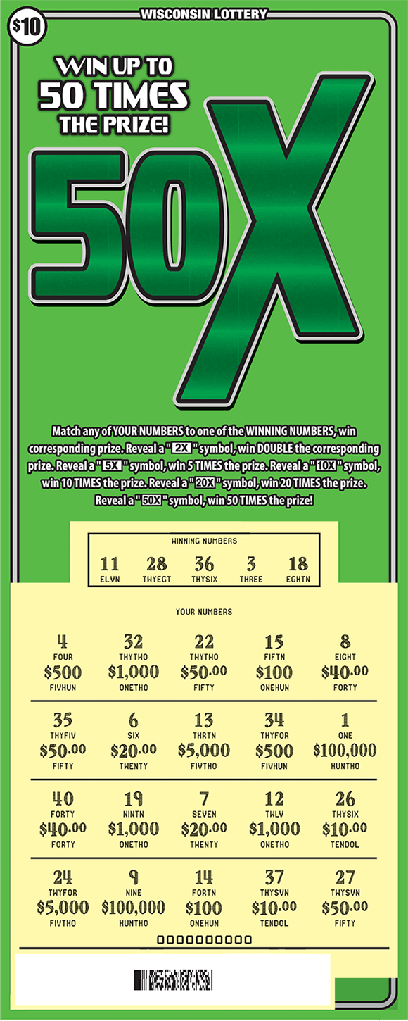image of scratch ticket with a light green background and a large 50X symbol in a darker green and a scratched play area revealing the winning numbers with a yellow background  on scratch ticket from wisconsin lottery