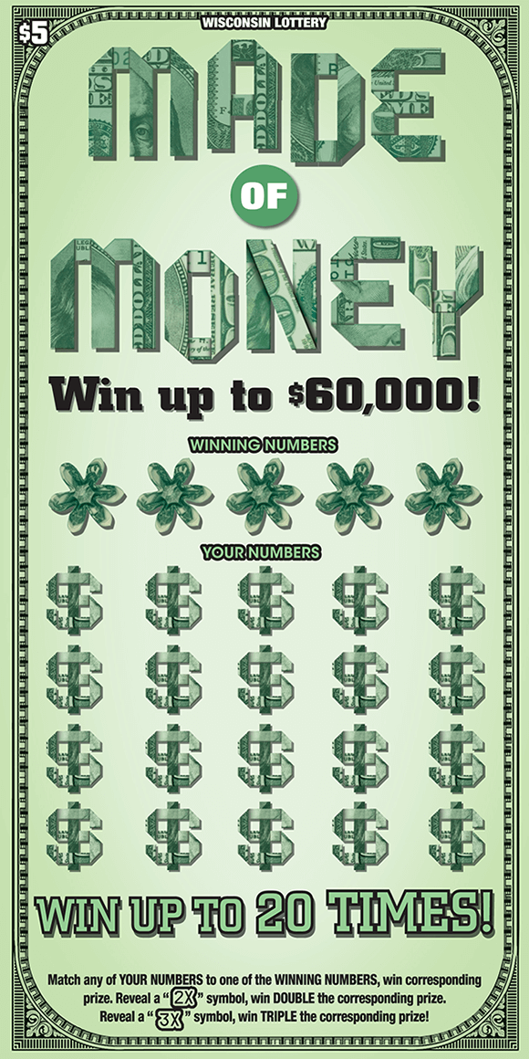 ticket looks like american dollar bill with green background and folded up bills making game name flowers for winning numbers and dollar signs for your numbers on wisconsin lottery scratch ticket