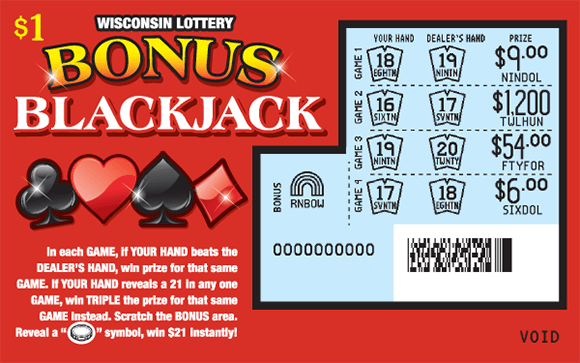 red background with a black club and spade and a red heart and diamond to the left of the scratched area revealing light blue background and winning hands and numbers on wisconsin lottery scratch ticket