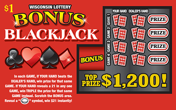 red background with a black club and spade and a red heart and diamond with cards and prize slots making up scratch area on wisconsin lottery scratch ticket
