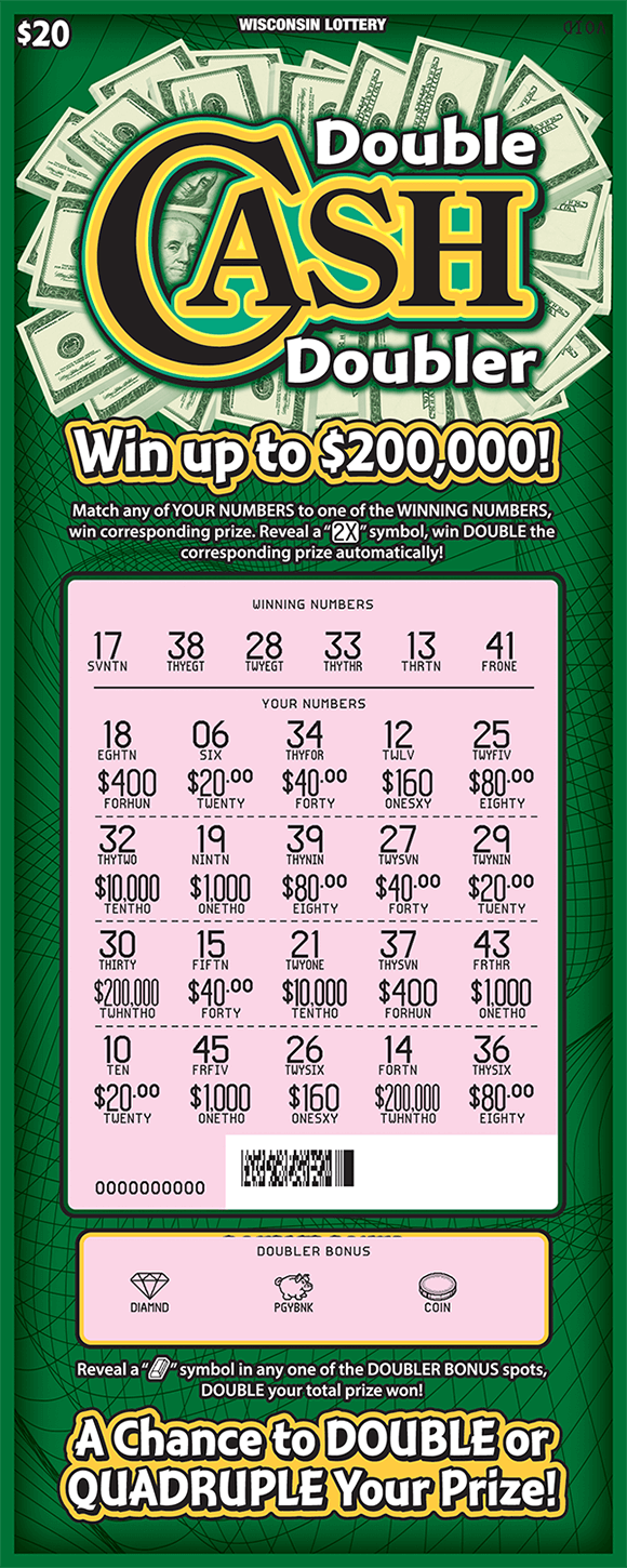 image of ticket with dark green background and 100 dollar bills behind the title of the ticket and play area is scratched revealing a pink background with the revealed winning numbers on scratch ticket from wisconsin lottery