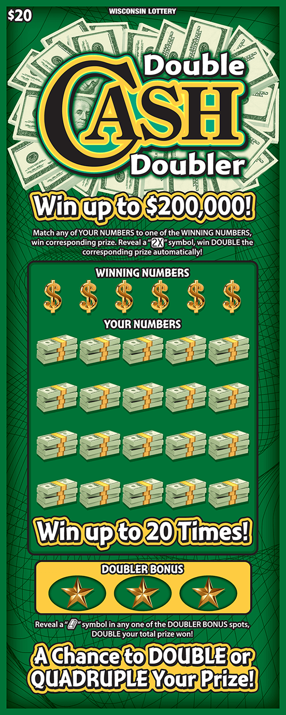 image of ticket with dark green background and 100 dollar bills behind the title of the ticket and stacks of money covering the your numbers section of play area on scratch ticket from wisconsin lottery