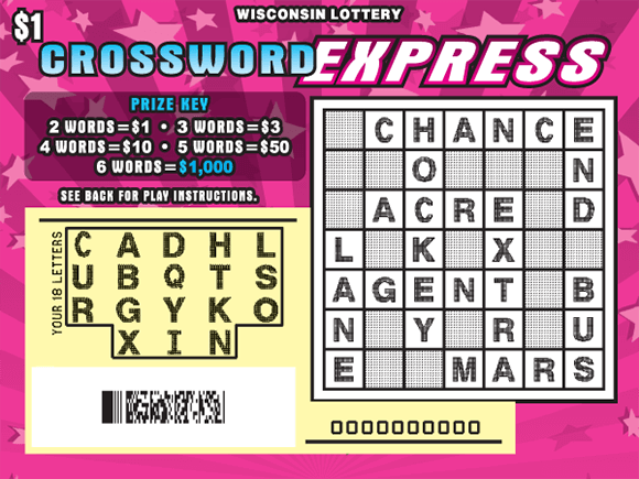 image of scratch ticket with pink striped background and pink stars with the play area scratched to reveal the winning letters on scratch ticket from wisconsin lottery