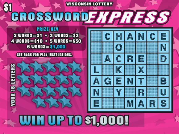 image of scratch ticket with pink striped background and pink stars with the crossword grid and winning numbers covered in a light blue color on scratch ticket from wisconsin lottery