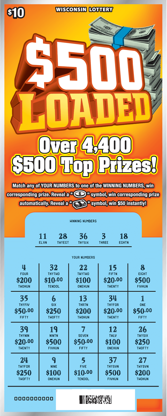 image of ticket with a yellow background and stacks of cash in the top right corner while the play area is scratched revealing the winning numbers on scratch ticket from wisconsin lottery
