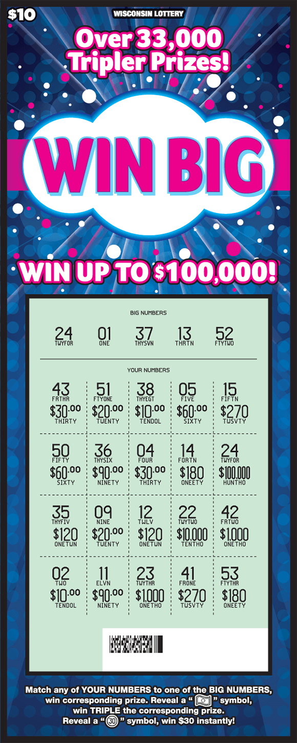 image of scratch ticket with dark blue background and pink and white polka dots with the play area scratched revealing the winning numbers on scratch ticket from wisconsin lottery