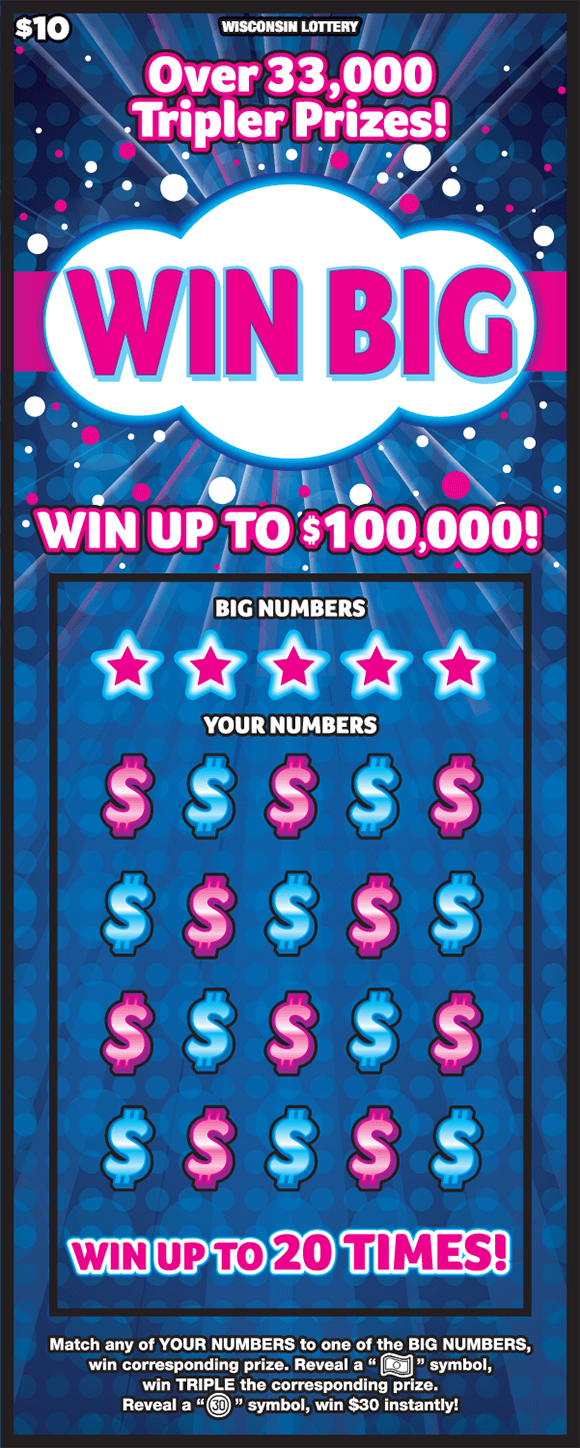 image of scratch ticket with dark blue background and pink and white polka dots with money symbols covering the play area alternating blue and pink colors on scratch ticket from wisconsin lottery